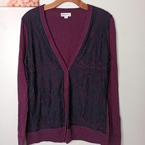 3/25Cardigan MERONA Red Black Top Long Sleeve Lace